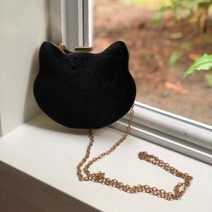 Handbags - Velvet cat purse on gold chain